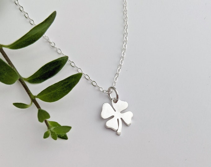 Four Leaf Clover Necklace, St. Patrick's Day, Lucky Necklace, Gift Idea