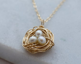 Gold Nest Necklace, Mothers Day Gift, Personalized Jewelry, Gift for Her, Mama Bird, Baby Shower Gift, Pearl Nest