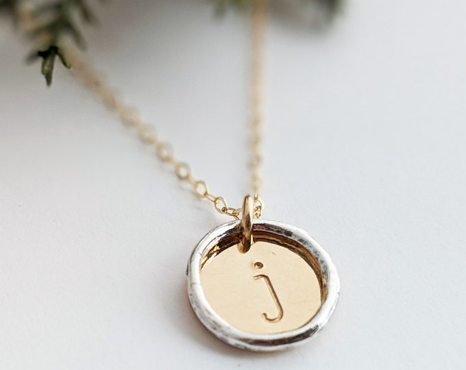 Gold Initial Necklace, Mixed Metal, Personalized Jewelry, Hand Stamped Necklace, Initial Charm, Gift for Her, Gift Idea