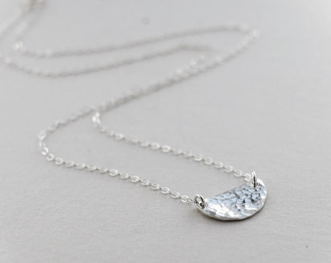 Silver Half Moon Necklace, Dainty Jewelry, Minimal Necklace, Hammered Charm, Gift Idea