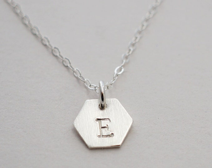 Tiny Hexagon Initial Necklace, Sterling Silver Charm, Hand Stamped Personalized Initial Necklace, Dainty Jewelry, Simple