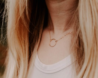 Yellow Gold Open Circle Necklace, 14K Gold Fill, Minimal Necklace, Gift for Her