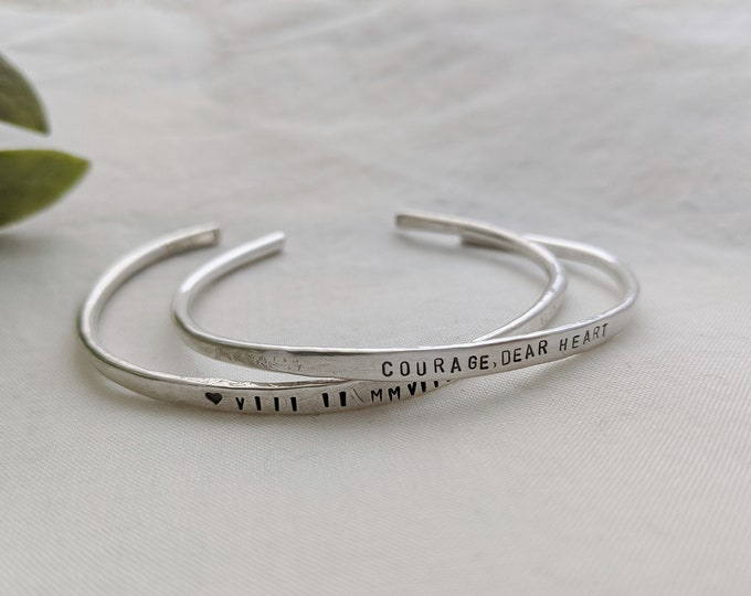 Personalized Silver Cuff Bracelet- Custom Bracelet- Hand Stamped Jewelry- Inspirational Gift- The Stamped Life