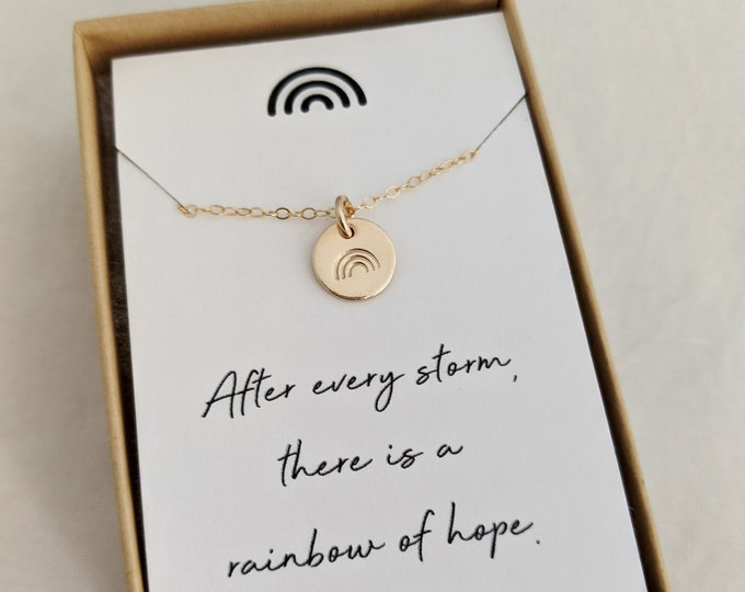 Rainbow Necklace, Encouragement Gift, Inspirational Message, Gift for Her, Gold or Silver, Gift Idea