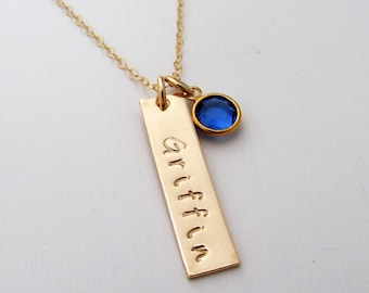 Gold Bar Name Necklace, Crystal Birthstone, Personalized Necklace with Birthstone, Bar Charm, Name Necklace, Christmas Gift Idea