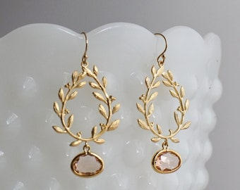 Gold Laurel Leaf Earrings, Laurel Wreath Jewelry, Modern Bridal Jewelry, Peach Bridesmaid Jewelry, Laurel Leaf, The Stamped Life
