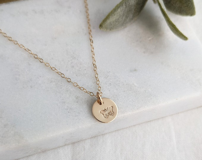 Tiny Butterfly Necklace, Tiny Gold Disc, Butterfly Gift, Gift for Her
