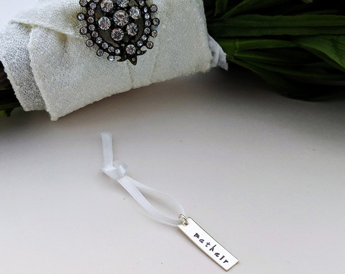 Wedding Bouquet Charm, Memorial Charm, Keepsake Gift Idea, Bride Gift, Sterling Silver Name Charm