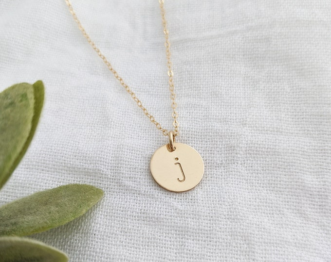 Gold Initial Necklace, Custom Initial Charm, Personalized Jewelry, Hand Stamped Necklace, Gift for Her, Gift Idea
