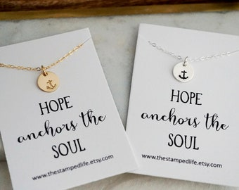 Hope Anchors the Soul Necklace, Encouragement Gift, Inspirational Message, Gift for Her, Gold or Silver