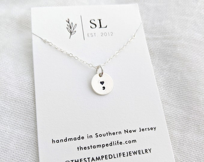 Semicolon Necklace, Inspirational Charm Necklace, Tiny disc necklace, Sterling Silver, Gold
