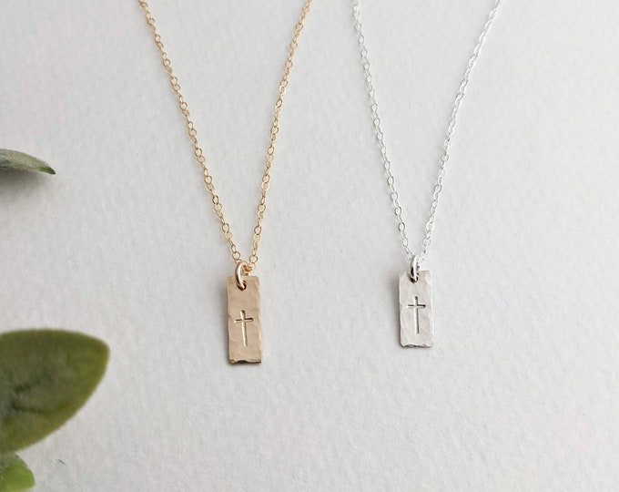 Tiny Cross Necklace, Dainty Cross Bar Charm, Minimal Cross, The Stamped Life