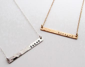 Personalized Jewelry, Dainty Gold Bar Necklace, Mantra Necklace, Gift for Her