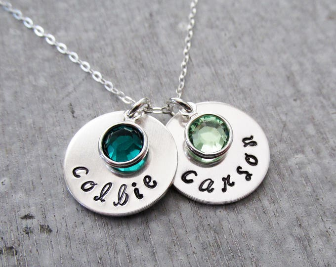 Personalized Name Necklace with Birthstones, Birthstone Necklace for Moms, Custom Name Charms