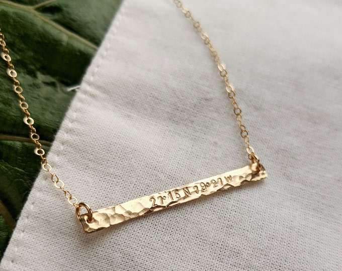 Coordinates Necklace, Skinny Gold Bar, Custom Location, Coordinate point, Gift for Her