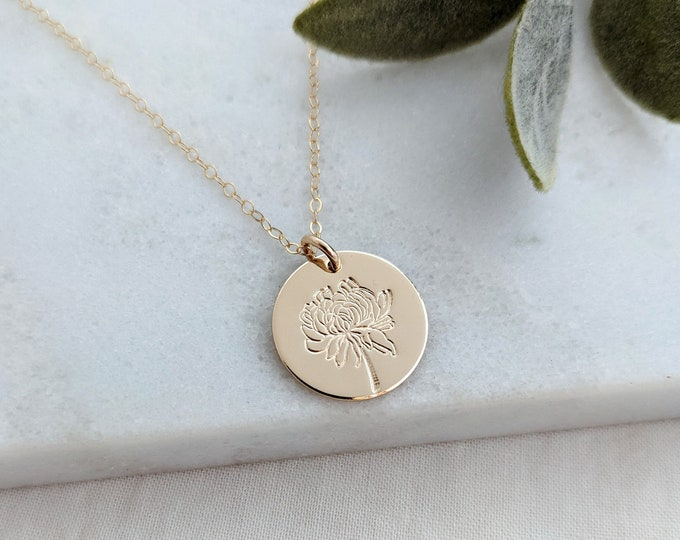 Chrysanthemum Necklace, November Birth Flower Necklace, Birth Month Flower Necklace, Gift for Her, Gift Idea