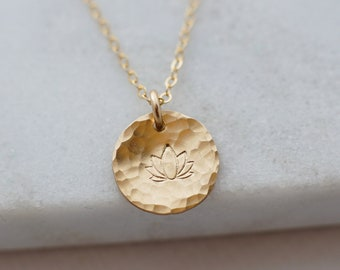 Gold Lotus Necklace, Lotus Jewelry, Gold Filled or Sterling Silver, Hammered Charm, Hand Stamped Jewelry, Gift Idea