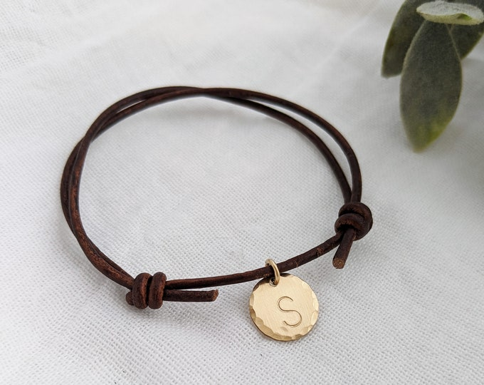 Personalized Adjustable Leather Bracelet, Initial Bracelet, Hand Stamped Jewelry, Gold Disc, Mixed Metal