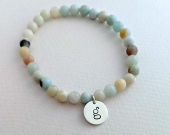 Initial Bead Bracelet, Sterling Silver Charm, Hand Stamped Jewelry, Stretch Bracelet, Gift Idea