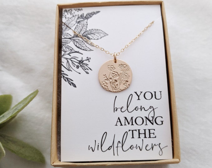 Wildflower Necklace, Graduation Gift, You Belong Among the Wildflowers, Tom Petty, Wildflowers Gift, Gift for Her