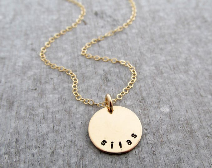 Mini Gold Filled Name Necklace, Mom Necklace, Childrens Names, Gold Discs With Names, Hand Stamped Jewelry, Necklace for Moms