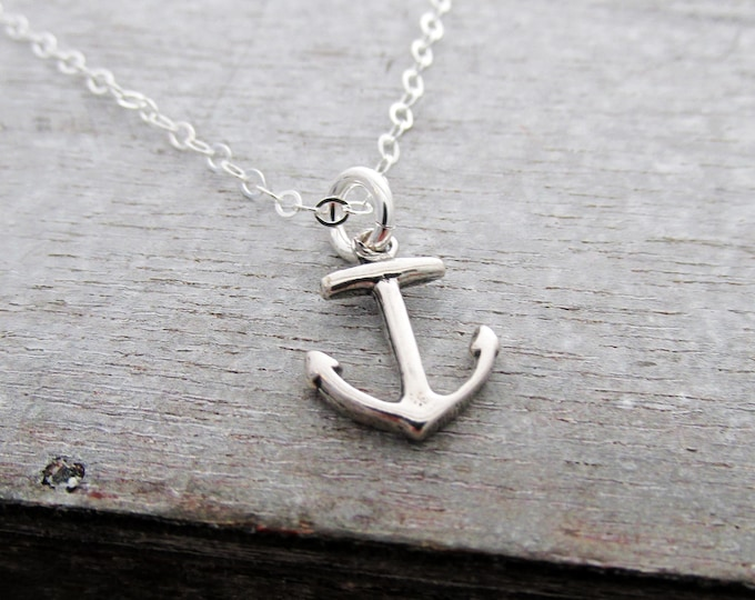 Anchor Necklace, Beach Wedding, Bridesmaid Gift, Nautical Jewelry, Anchor Charm, Sterling Silver Charm Necklace