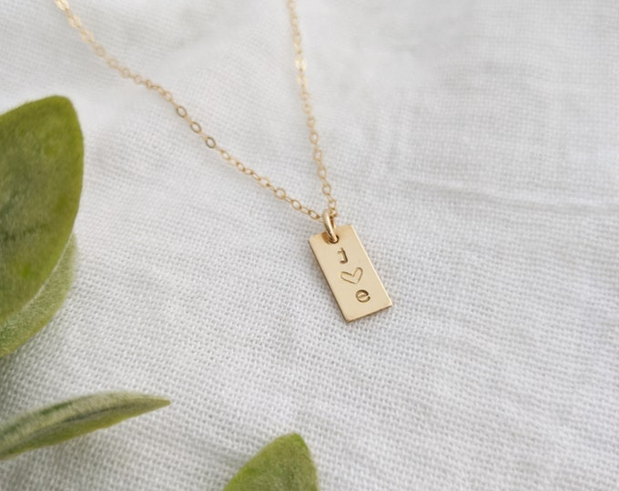 Tiny Personalized Bar Charm, Gold Bar, Personalized Initial charm, Personalized Necklace, Initial Charm, Personalized Gift IdeaGift Idea