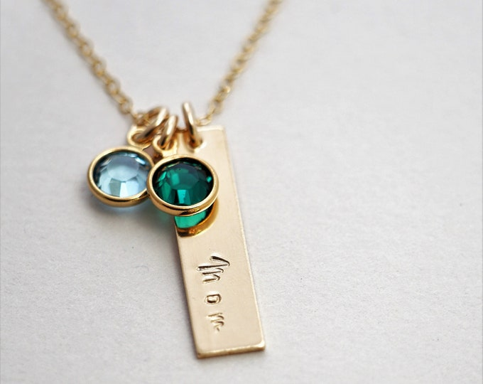 Gold Birthstone Necklace for Grandma, Necklace for Nana, Mothers Day Necklace, Gold Bar, Gift for Moms