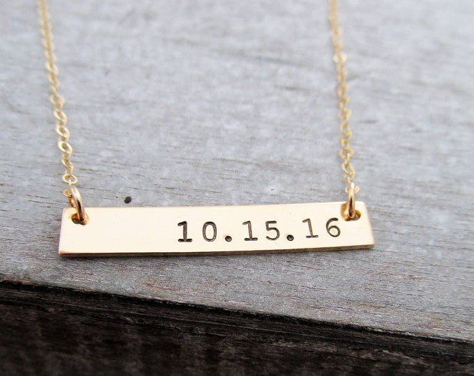 Gold Bar Necklace,  Personalized Gold Bar Necklace, Customized Name Bar Necklace, Gold Bar Date Necklace, Bridal shower Gift Idea