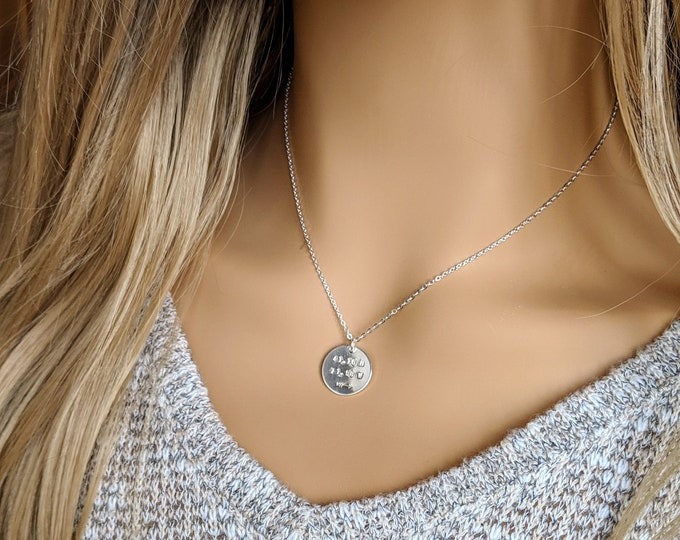 Personalized Coordinate Necklace, Custom Jewelry, Silver Disc Necklace, Hand Stamped Jewelry, Gift Idea, Necklace, Jewelry
