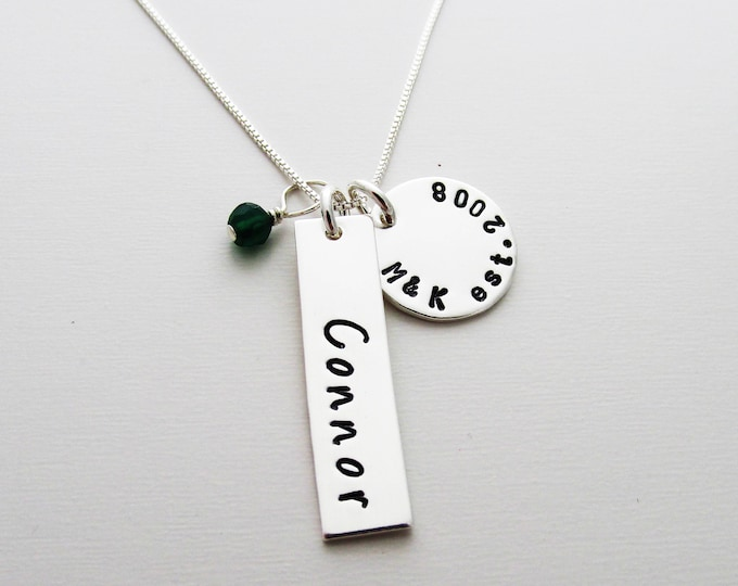 Personalized Necklace With Birthstone, Tag Necklace, Bar Charm Name Necklace, Baby Shower Gift, Gift for New Moms