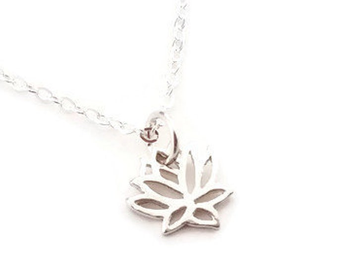 Silver Lotus Necklace, Tiny Lotus Charm Necklace, Lotus Flower, Dainty Silver Necklace
