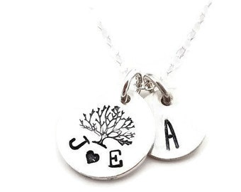Family Tree Initial Necklace, Mothers Necklace, Dainty Silver Necklace, Initial charm, Anniversary Gift, Wedding jewelry, Gift for Her
