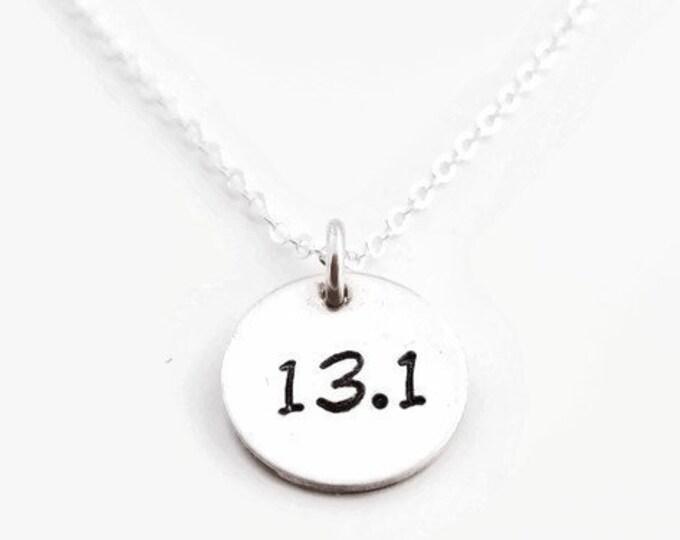 Half Marathon Necklace 13.1, Marathon 26.2, Runner Necklace, Sterling Silver Charm, Gift For Runner