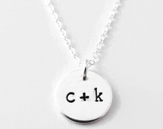 Silver disc necklace with Initial, Initial Necklace, Silver Charm necklace, Personalized Jewelry, Personalized Gifts for Women