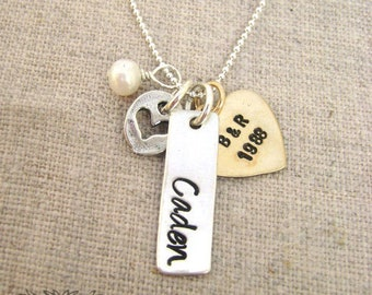 Bar Charm and Heart Personalized Necklace, Mother, Mom, Personalized Jewelry, Mixed Metal, Custom Name Necklace, Mothers Day