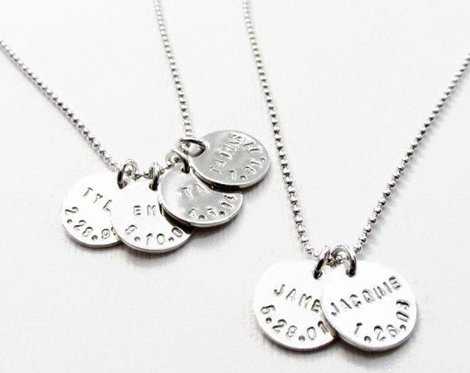Custom Name Necklace, Birth date charm, Personalized Necklace, Silver Disc