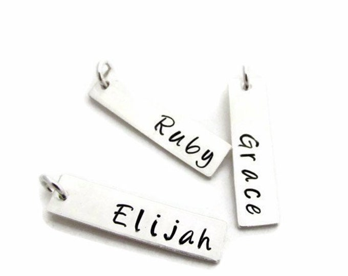 Add On- Personalized Name Bar Charm, Custom Name Charm, Hand Stamped, Rectangle Charm