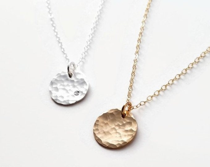 Modern Initial Necklace, Minimal Necklace, Gold Disc, Sterling Silver Disc, Personalized Gifts for Women, Gift Idea, Gift for Her
