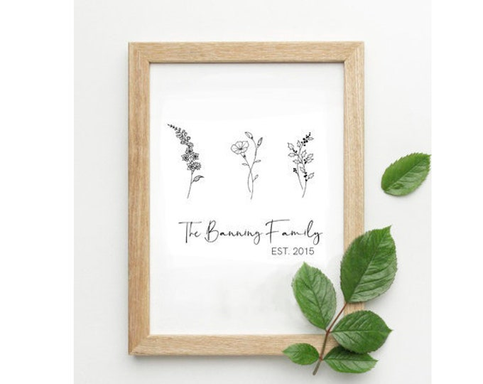 Custom Birth Flower Print | Kids Birth Flowers| Family Birth Flowers |  Mothers Day Gift Idea | Unique Gift Idea