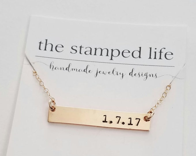 Gold Bar Charm Necklace, Gold Hand Stamped Necklace, Personalized Necklace, Layering Necklace