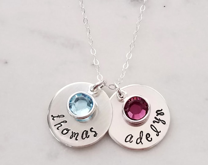 Personalized Necklace with Birthstones, Engraved Birthstone Necklace, Silver Disc