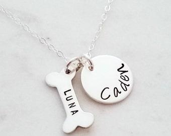 Custom Dogbone Necklace, Personalized NameNecklace, Tiny Charm Necklace, Dog bone charm