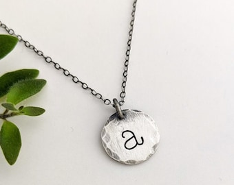 Silver Initial Necklace, Antiqued Silver, Rustic Personalized Charms, Boho Jewelry