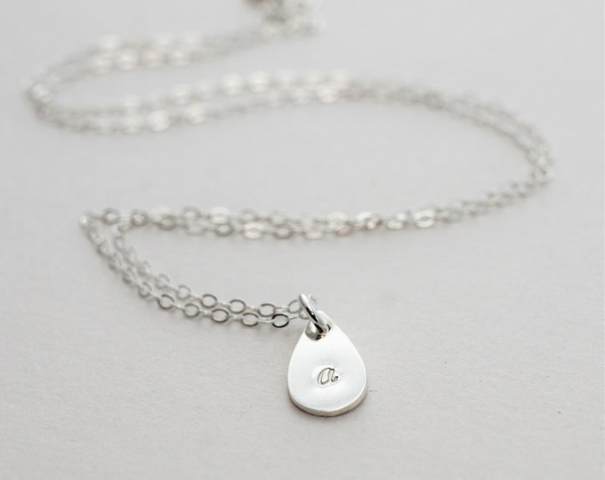 Silver Teardrop Necklace, Initial Charm, Hand Stamped Personalized Initial Necklace, Dainty Jewelry, Simple