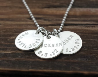 Custom Name and Birthdate Necklace, Personalized Kids Name Necklace, Personalized Necklace, Mothers Day Gift, Necklace for s