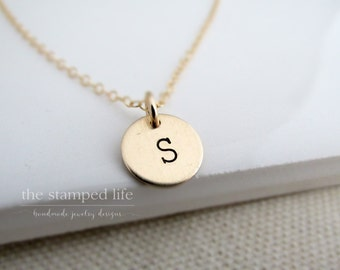 Gold Letter Necklace 14k Gold Filled Hand Stamped Personalized Initial Necklace Charm Letter Necklace