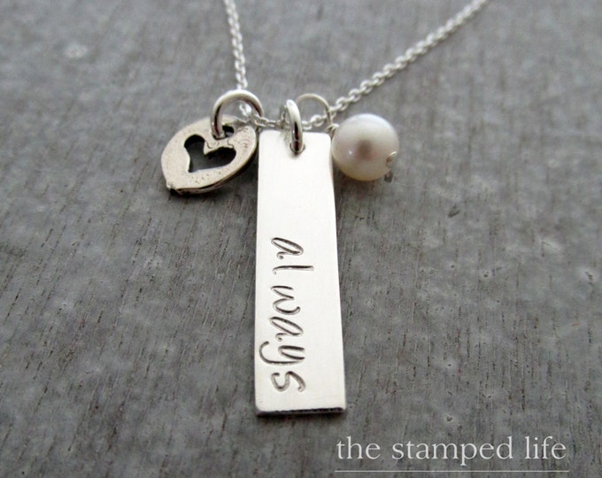 Sterling Silver Personalized Name Necklace, Bar Charm, Personalized charm, Hand Stamped