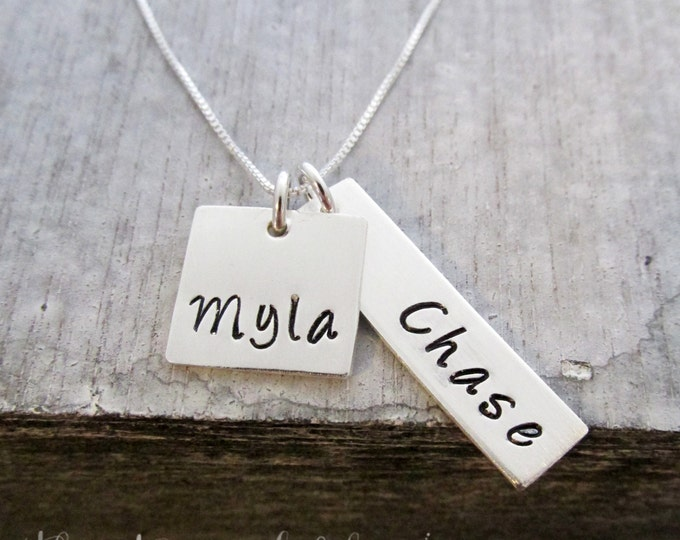 Personalized Charm Necklace Sterling Silver , Mother Jewelry, Mom, Hand Stamped