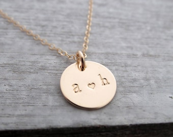 Gold disc necklace with Initial, Layering Necklace, Initial Necklace, Gold Charm, Personalized Jewelry, Gift for Her, Gift Idea